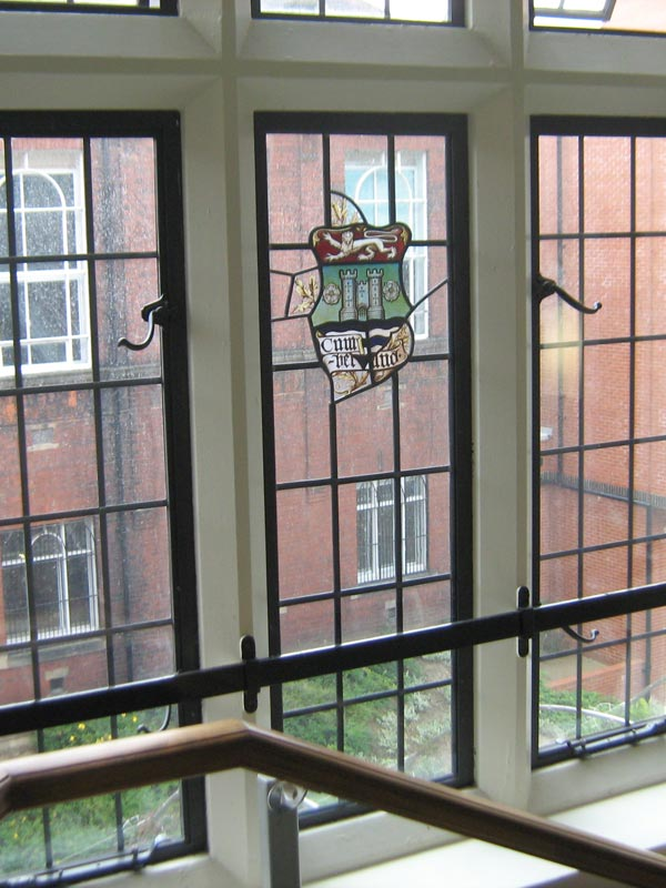 close up of bronze windows on newcastle university