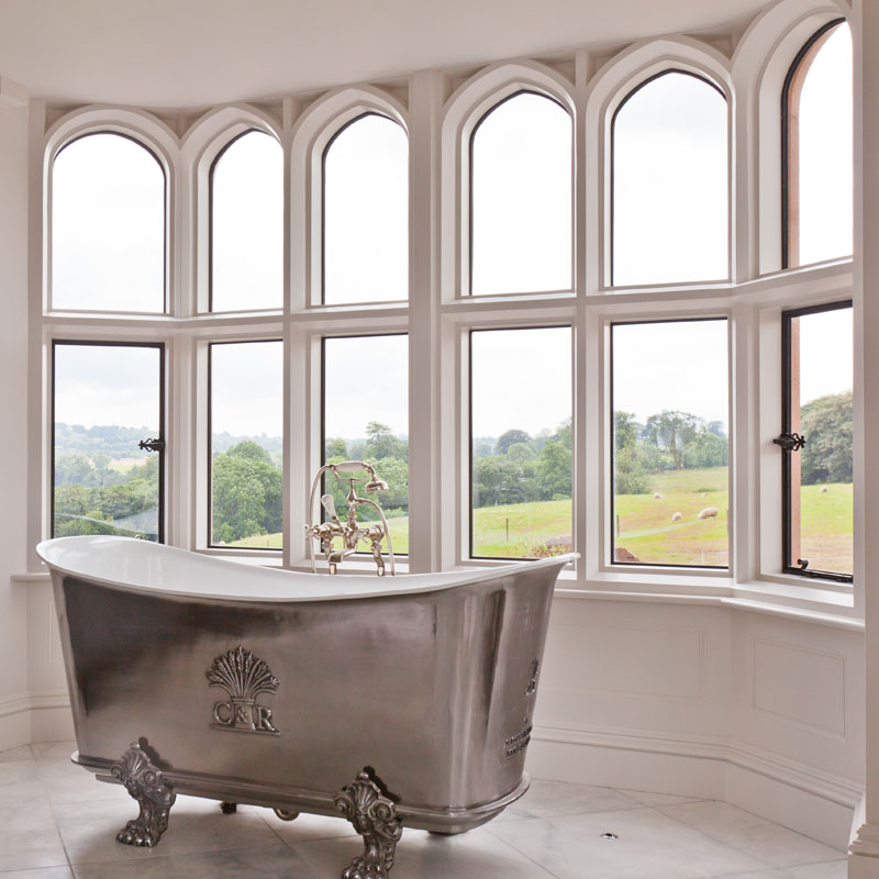 interior view of curved bronze windows