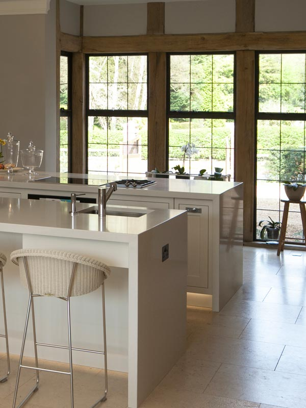 kitchen with timber framed bronze windows