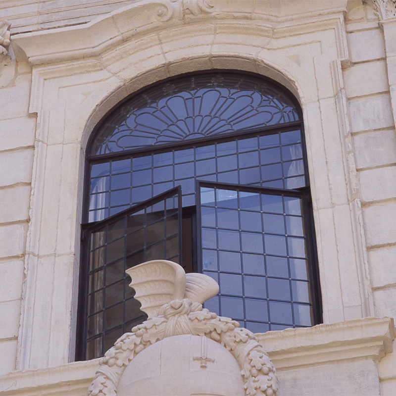 close up of london listed building with bronze windows