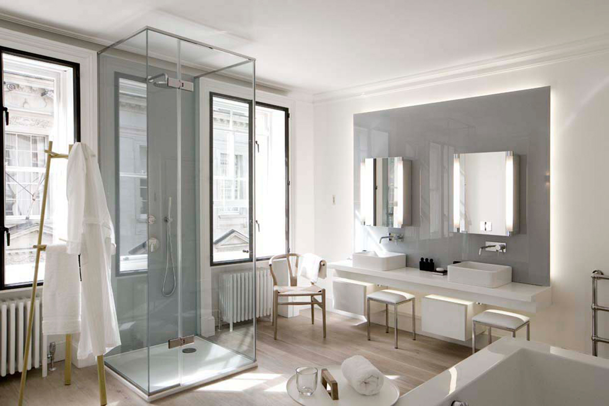 modern bathroom with secondary glazing