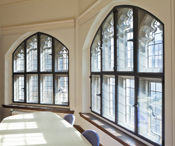 Large curved secondary glazing