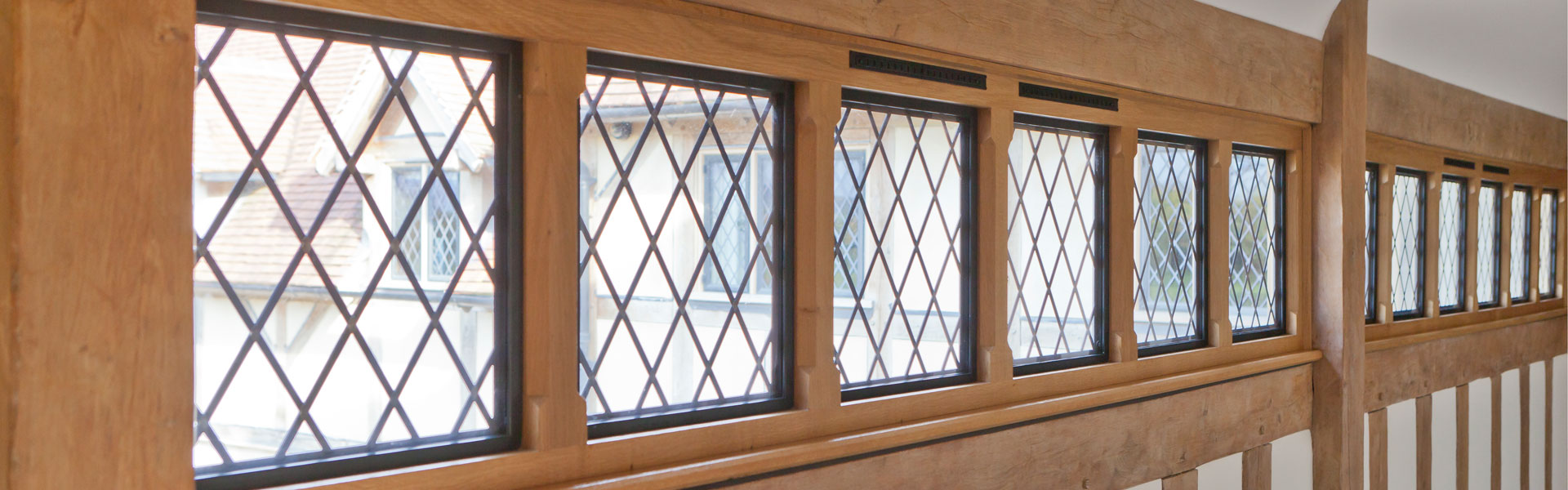 lead detailed timber framed hallway windows