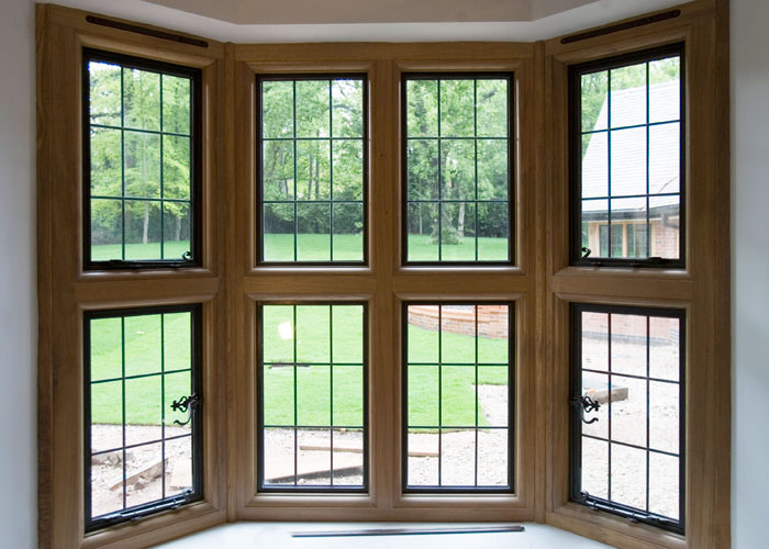 Bronze windows in a timber frame (internal)