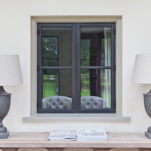 Internal bronze window with glazing bar